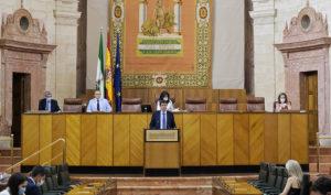 El vicepresidente andaluz, Juan Marín, en el pleno celebrado en el Parlamento de Andalucía este miércoles.