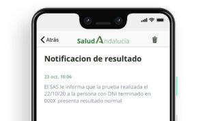 Ejemplo de notificación del resultado a una persona con resultado normal.